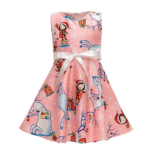 Baby (12M-7J) Weihnachten Prinzessin Kleid, Quaan Mädchen Karikatur Weihnachtsmann Drücken Ärmellos Beiläufig Retro Vorabend Party Abschlussball Swing Abendessen Kleid Klassisch Mini Rock