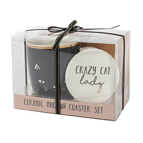 Crazy Cat Lady Becher und Untersetzer Set Tee Kaffeebecher Tasse vorhanden Tier Boxed Geschenk Tee-set Boxed