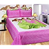 La Kanie 100% Cotton Bedsheet - Barbie Rajasthani Jaipuri Print Double Bedsheet With 2 Pillow Covers Pink