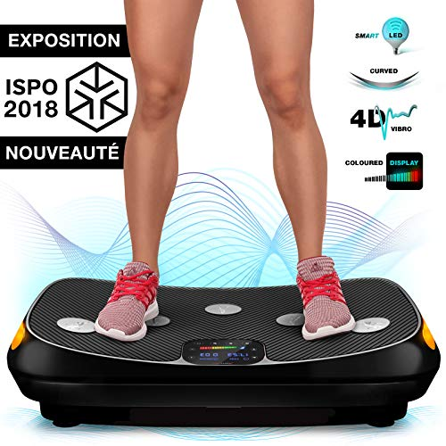 Nouveauté 2018 ! Plaque vibrante 4D VP400 au design courbé unique, écran tactile couleur, grande surface, technologie Smart LED, bandes d'entraînement, poster d'exercices et tapis de protection (Noir)