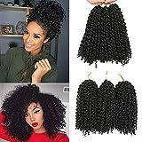 Marlybob häkeln Haar Afro verworrenes lockiges Haar häkeln Zöpfe lockige Welle häkeln Flechten Haar synthetische Haarverlängerung(8inch 1b)