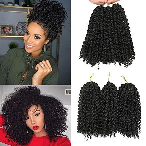 Marlybob häkeln Haar Afro verworrenes lockiges Haar häkeln Zöpfe lockige Welle häkeln Flechten Haar synthetische Haarverlängerung(8inch 1b) (Häkeln Zöpfe)