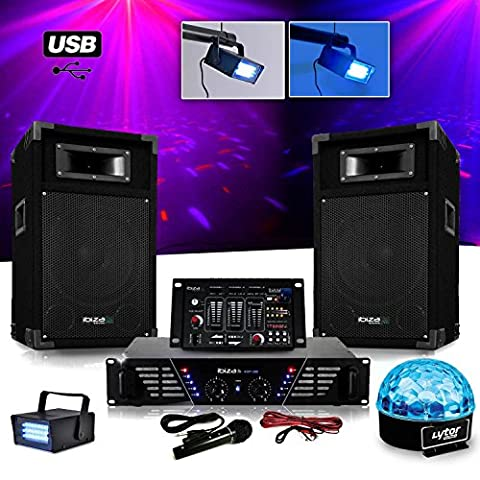 Pack Sono DJ complet ampli + enceintes 500W + Table de mixage + LIGHT SIXMAGIC LED RVB + LEDSTROBE
