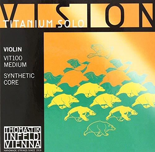 Thomastik 634209 Saiten für Violine Vision Titanium Solo Synthetic Core, Satz 4/4 Mittel (Violine Saiten Vision Thomastik)