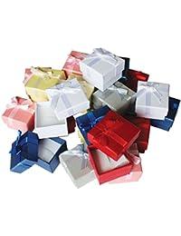 24 teiliges Schmuck Ring Geschenkboxen Set mit Samteinlage von Kurtzy - 3.8 x 2.8 cm Präsentations-Schachteln - Schleife und Band Design - Steckeinlage für Ringe und Ohrstecker