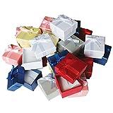 Kurtzy 24 Set Bijoux boîte de bague - Boucle d'oreille, Bracelet, boîte de bague - Modèle avec noeud et ruban - Slots pour bagues, colliers et boucles d'oreilles