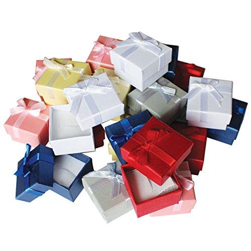 Pack de 24 Cajas para Joyas Anillo Exhibir Regalos con Inserto de Terciopelo por Kurtzy   Cajas de Presentación de 3,8 x 2,8 cm   Diseño de Lazo y Cinta  Inserto con Ranura para Anillos y Pendientes