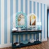 UCCUN Moderne, einfache Non-Woven Wallpaper gestreifte Blaue und Weiße Mediterrane vertikal gestreifte Tapete Wohnzimmer Schlafzimmer Kind Baby, Blau, 53 CM X 10 M