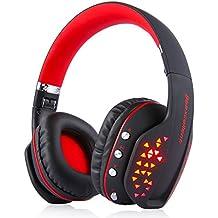Bluetooth Auricular Gaming Inalámbrico, MindKoo Auriculares Profesional de Diadema Manos Libres Casco de Videojuego Sonido Verdadero Estéreo con LED luz para iOS iPhone x,8/Plus Android,PS4 PC