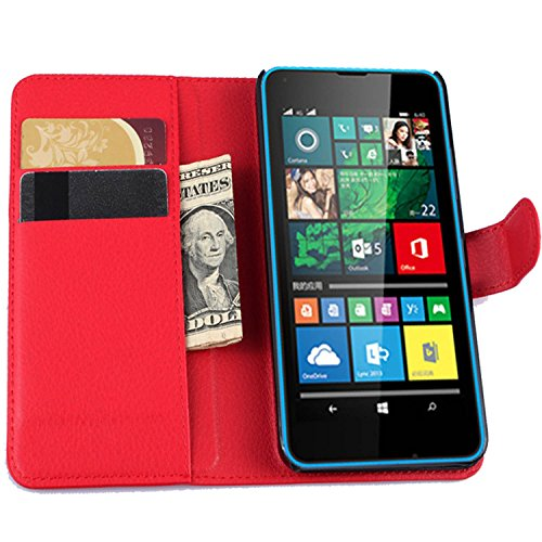 Tasche für Microsoft Lumia 640 Dual-SIM Hülle, Ycloud PU Ledertasche Flip Cover Wallet Case Handyhülle mit Stand Function Credit Card Slots Bookstyle Purse Design rote