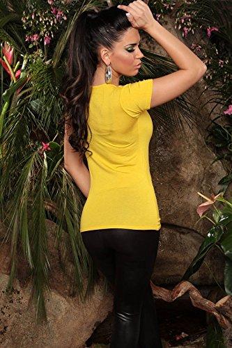 Original t-shirt avec imprimé tendance, drapeau et bouche en jaune, vert, turquoise s m m l l/xL = taille 36/38/40, 38/m 40/42 kouCla de Jaune - Jaune