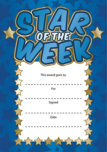 star-of-the-week-reward-cards-set-of-16-a6-size-blue-gold-teachers-reward-certificates