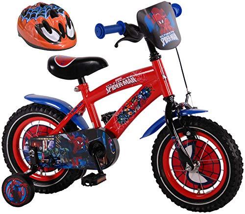 Ultimate Spider-Man Kinderfahrrad 12 Zoll mit Rücktrittbremse + Kinder Fahrradhelm Spider-Man 51-55 cm im Sparset