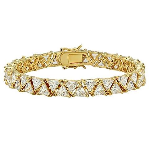Gold Plated 7mm Tennis Bracelet w/Trilliant Cut Cubic Zirconia, 8 Inch
