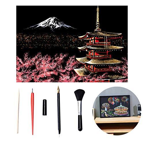 Rubbeln 1set Kunst Berühmte Stadt-Nachtansicht Dazzling Papier Schabekarton DIY Craft Art Papier Heim Wohnzimmer-Dekoration (Fuji Mountain, einschließlich Tools)