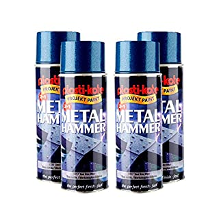 Plastikote Project Paint 2217 Tool Box Blue Metal Hammer Spray Paint 400ml - 2.23m² Coverage per can - Heat Resistant to 150°C - Touch Dry in 30 Minutes. (Set of 4)