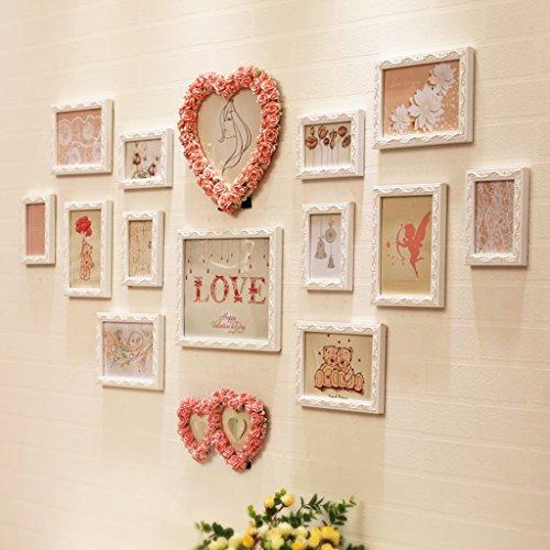 Foto-rahmen-set Liebe (HDOH Romantische Harz-Foto-Wand, geschnitzte rosa Liebe (kann gesetzt werden, 2), weißes Rechteck (12) Kombination des Foto-Rahmens)