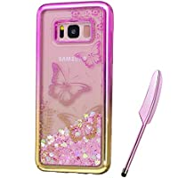 Galaxy S8 Plus Case, Pink Gold Plating Design, Edaroo 3d Cool Flowing Liquid Bling Sparkle Pink Hearts Glitter Style Beautiful Butterflies Flower Pattern Slim Thin Fits Soft Rubber TPU Bumper Protective Case Cover for Samsung Galaxy S8 Plus