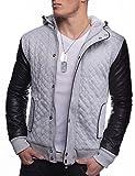 Herren Jacke Übergangsjacke mit Lederärmeln Ontario ID1339 (Schwarz/Grau), Farben:Grau, Größe Jacken:XXL