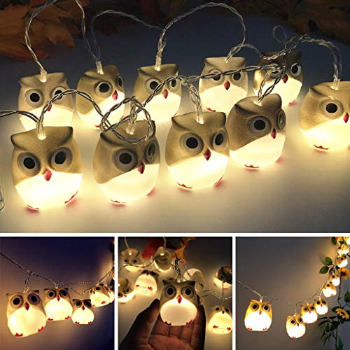 ToDIDAF Halloween LED-Lichterketten Wasserdichte batteriebetriebene Lichterketten Dekoratives Eulenlicht für Outdoor Indoor Zuhause Garten Karneval Party Dekoration (Beige)