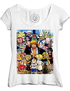 T-shirt Femme Col Rond Echancré one piece enfant shank le roux one piece manga