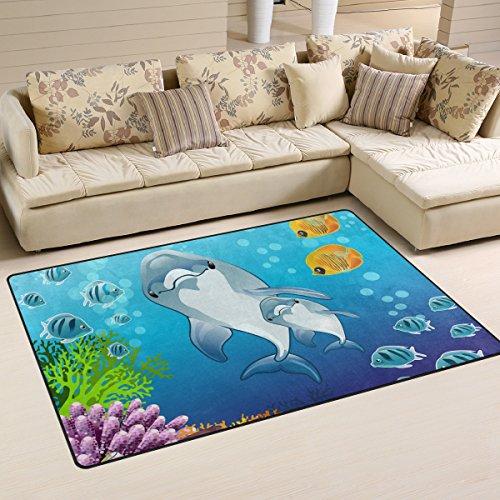 coosun Delfine von Marine Hintergrund Bereich Teppich Teppich rutschfeste Fußmatte Fußmatten Wohnzimmer Schlafzimmer 78,7x 50,8cm, Textil, multi, 31 x 20 inch Bereich Marine