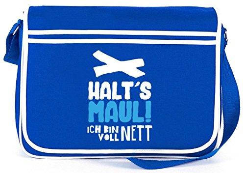 Shirtstreet24, Voll Nett, Retro Messenger Bag Kuriertasche Umhängetasche Royal Blau