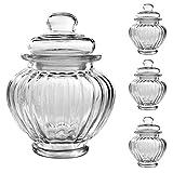 3er Set Luftdichte Vorratsdosen mit deckel Bonbonglas aus Glas Candy Bar Vorratsglas Bonboniere Vorratsbehäter Aufbewahrung 300ml - 12cm x 9,5cm x 9,5cm