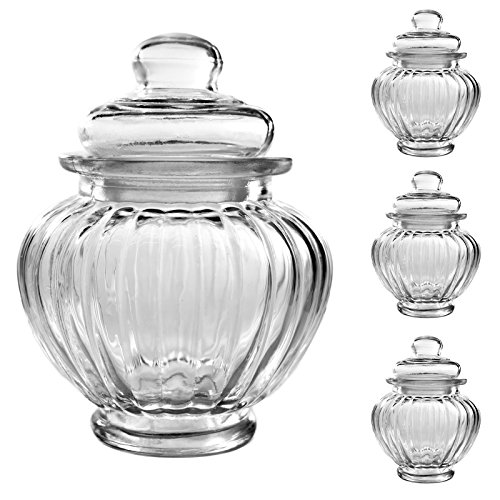 3er Set Luftdichte Vorratsdosen mit deckel Bonbonglas aus Glas Candy Bar Vorratsglas Bonboniere Vorratsbehäter Aufbewahrung 300ml - 12cm x 9,5cm x 9,5cm Candy Glas