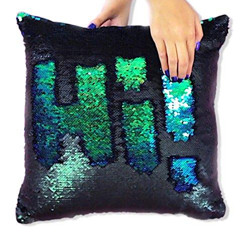 16 x16 cuscino sirena con inserto di colore sirena scintillante per panca divano decorativo due colori cangianti cuscino magico paillettes reversibile