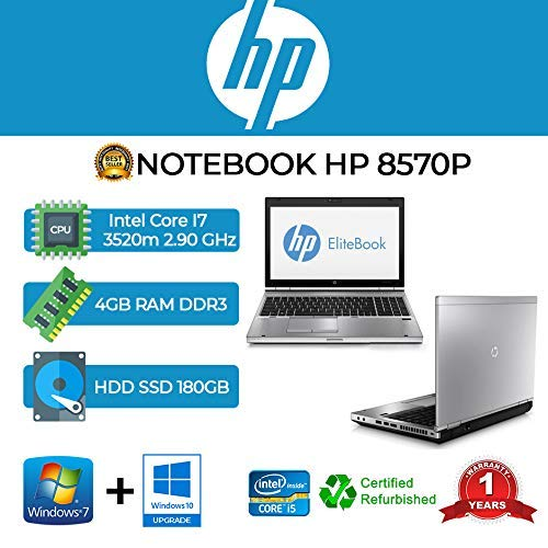 "HP ELITEBOOK 8570P Core I7-3520M/4GB/SSD 180GB/DVD/15.6\""/Web/Win 10 Pro (Reacondicionado)"
