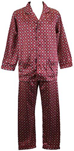 Da uomo a maniche lunghe pulsante anteriore in stile tradizionale motivo nastro di raso pigiama. (Pulsante Paisley Anteriore)