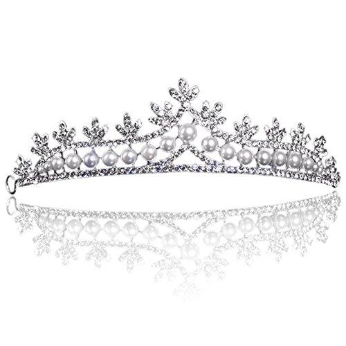 Abeillo Hochzeit Braut Perle Kronen-Stirnband Tiara Charmantes Strass Kopfstück Silber (Tiara Damen)