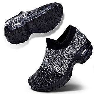 Womens Tennis Comfortable Shoes Breathe Mesh Walking Shoes Athletic Wedge Platform Loafers Sneakers Grey Black UK7(1839huihei41)