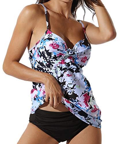 RIOJOY Damen Sport Tankini Set Push Up Bauchweg Bikini Top Set mit Shorts 7 Farben -