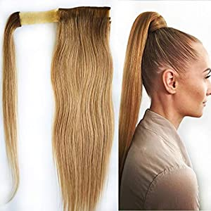 tarifas envia: Extensiones de cabello humano sedoso y liso alrededor de la cola de caballo, ext...