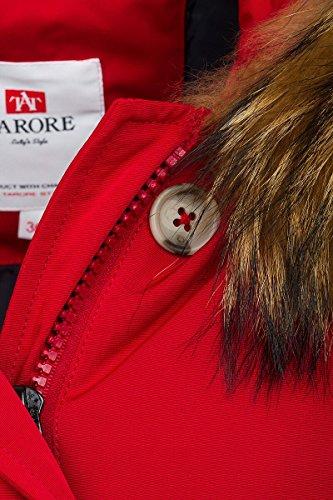6M166M Damen Daunenmantel Arctic Parka TARORE mit Echtfellkapuze (34, rot) - 4