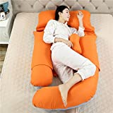 SYT Travel pillow Cuscino a forma di U Cuscino per dormire Cuscino per maternità Cuscino per le donne in gravidanza laterale, 180x110x75cm, arancione blu