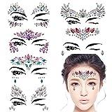 #4: DaLin 6 Sets Mermaid Face Gems Rave Festival Face Jewels Stick On Crystals Bindi Rainbow Tears Rhinestone Temporary Tattoo Face Rocks (Collection 1)