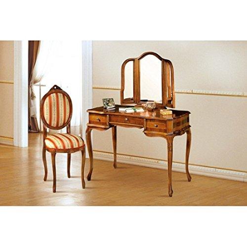 estea Meubles – Bureau Miroir 3 tiroirs avec Miroir Bois Massif avec marqueterie