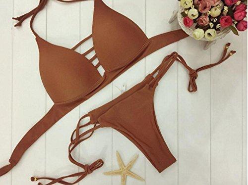 Meschofe Damen Push up Gepolstert Neckholder Bademode Beachwear Badeanzug Bikini Set Kaffee