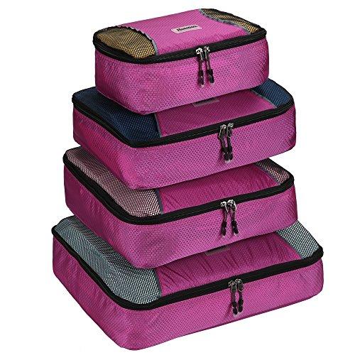 Homdox 4pcs Kleidertasche Packwürfel Aufbewahrungstasche Kleidertaschen Packtaschen Koffer mit Wäschesack Packing Cubes (Grün) Lila 1
