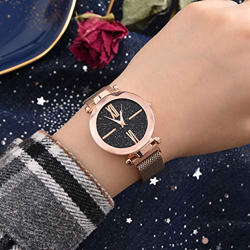 Gaddrt Herrenuhr Quartz Uhr Mode-beiläufige Quarz-Maschen-Gurt-Uhr-analoge Armbanduhr lässige Modegeschäft (Kaffee)