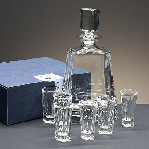 Set/Confezione 6 bicchieri shot in cristallo per liquore o whisky + bottiglia in cristallo, collezione