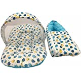 GoodLuck Baybee - Baby Combo Cotton Printed Carry Bed & Net Bed Baby Sleeping Bag With Mosquito Net For New Born Baby | Sleeping Bed Cum Bedding Set | Baby Mattress Carry Bag For New Born Babies| (0-6 Months) -( Blue )