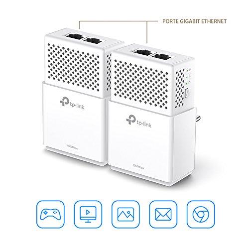 TP- Link TL- PA7020 KIT AV1000 Gigabit -  2 Adaptadores de comunicación por línea eléctrica PLC/Extensor/Repetidores de red,  Amplificador internet(2 Puertos/Smart TV/Nintendo Switch)