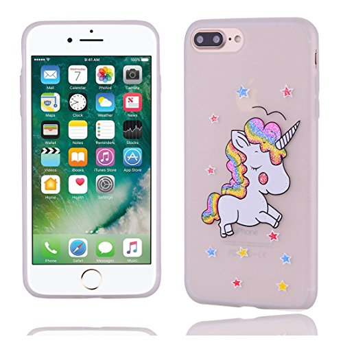 iPhone 7 Plus Copertura,Modello variopinto di Bling del fumetto sveglio creativo Custodia protettiva della pelle in gomma sottile TPU Case per iPhone 7 Plus 5.5inch,Stelle Unicorn # 1