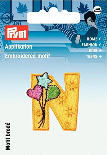 Prym Eisen auf gesticktes für Kinder mit Motiv Aufnäher -, Gelb/mehrfarbig-mit, Buchstabe N (Buchstaben Auf Nähen Gestickte)