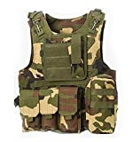 WorldShopping4U Militaire Armée Airsoft Assault Tactique Chasse FSBE Style Transporteur MOLLE Combat Gilet (Woodland Camo)