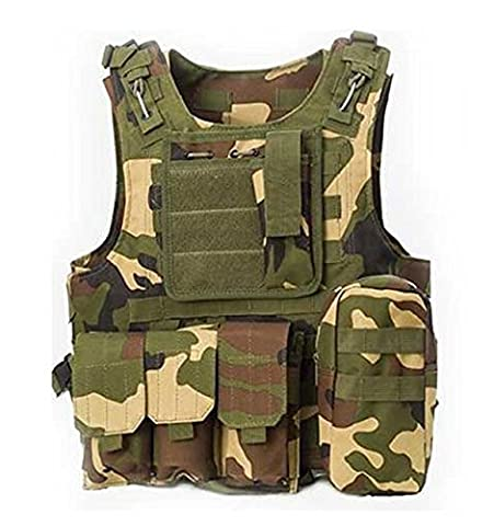 WorldShopping4U Military Army Airsoft Assault Hunting FSBE Style Carrier MOLLE Combat Vest (Woodland Camo)
